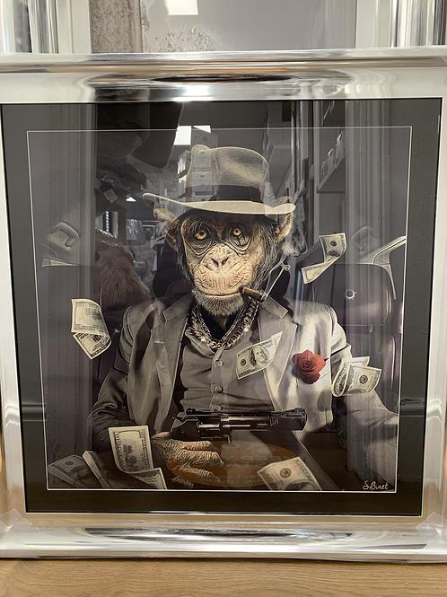 Mafia Monkey on Chrome Scoop Frame 90x90cm