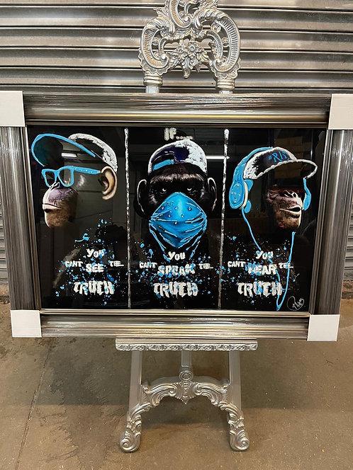 Monkey Truth on Venetian Frame 95x75cm