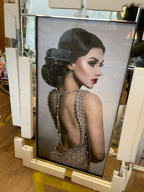 Lady in backless dress on Mirrored Frame