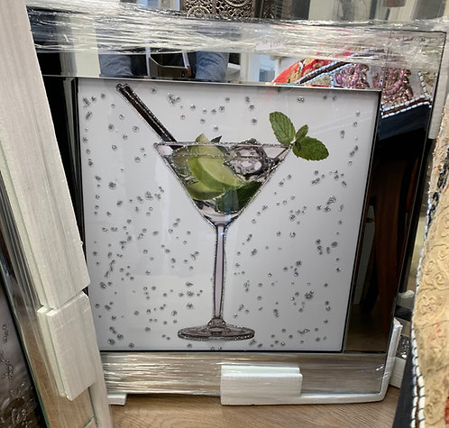 Mojito Cocktail on Mirrored Frame