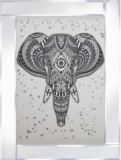 Jewelled Elephant on Mirrored Frame 95x75cm