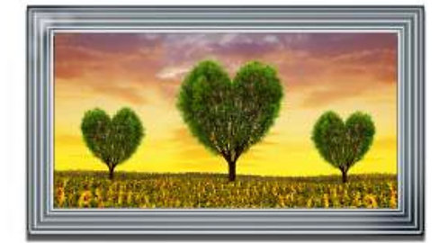 Green Tree Heart on Mirrored Frame 110x60cm