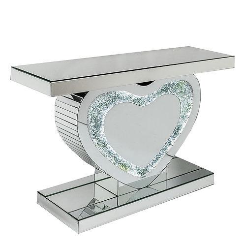 LED Crushed Diamond Heart Shaped Console Table