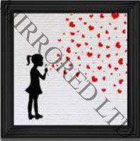 Banksy Girl Hearts 55x55cm