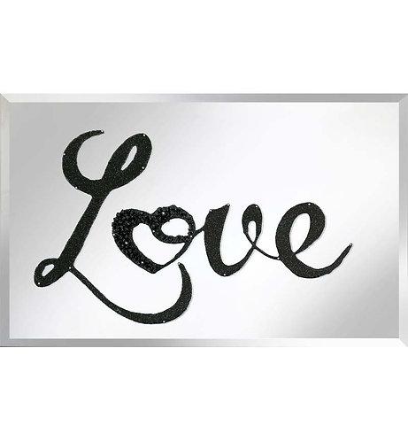 Black Glitter Love on Silver Mirror 100x60cm