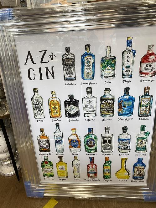 A-Z of Gin on Chrome Stepped Frame 95x75cm
