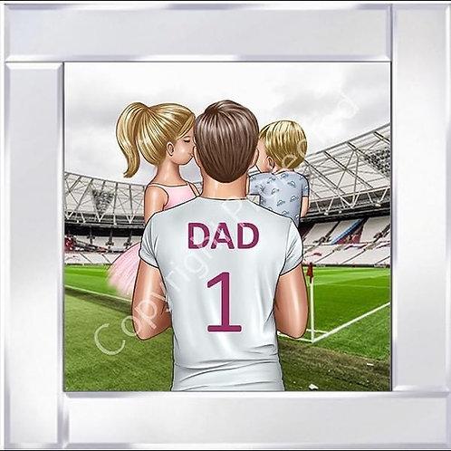 No1 Dad on Mirrored Frame 55x55cm - Westham