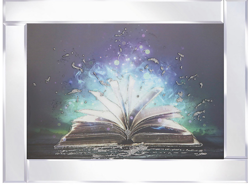 Magical Book on Mirrored Frame 95x75cm