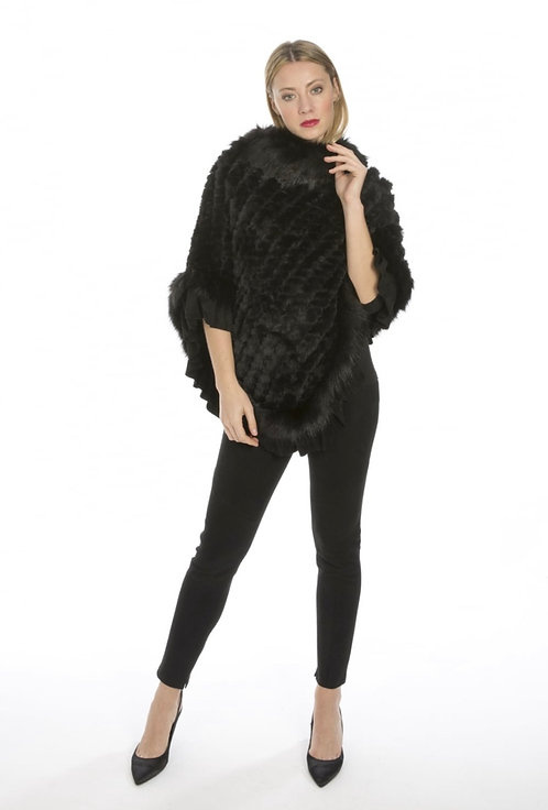 Faux Fur Knitted Faux Suede Poncho