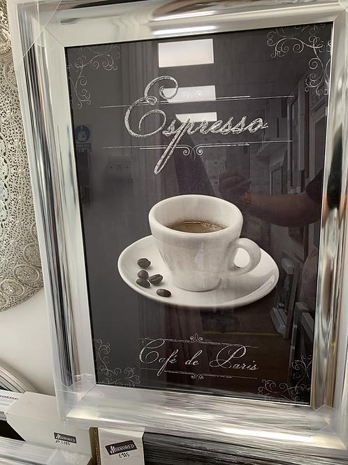 Espresso on Chrome Scoop Frame 75x55cm