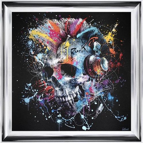 Colour Skull on Chrome Scoop Frame 90x90cm