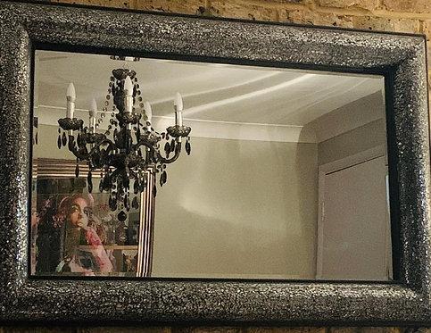 Black/Silver Bow Mosaic Mirror 90x60cm