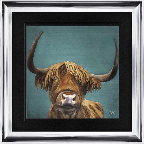 Idle Highland Cow Colour on Chrome Scoop Frame 115x115cm