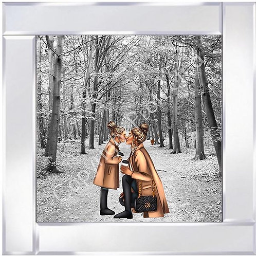 Mother & Daughter Blonde on Mirrored Frame 55x55cm