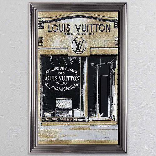 Gold Louis Vuitton Shop Front Mirror on Chrome Scoop Frame 75x55cm