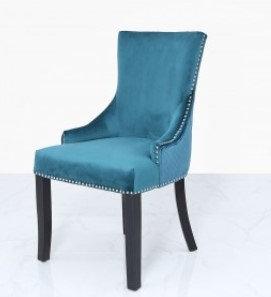Marine Green Velvet Dining Chair With Ring Back