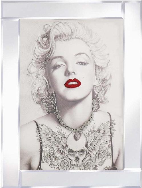 Marilyn Tattoo on Mirrored Frame 95x75cm