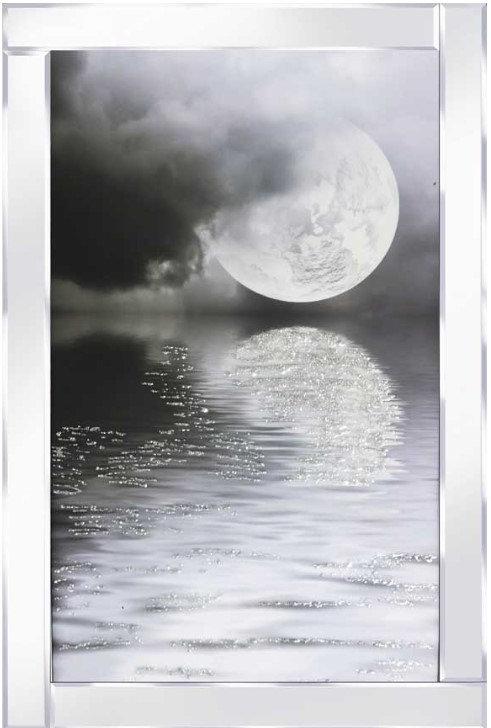 Full Moon on Mirrored Frame