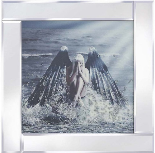 Angel on Water on Mirrored Frame