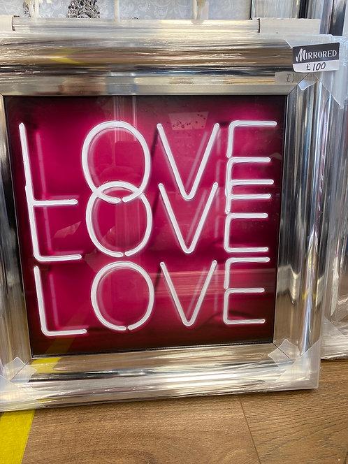 Love Love Love Pink Neon on Chrome Scoop Frame 55x55cm