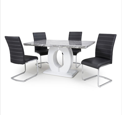 Medium Marble Effect Dining Table with 4 Chairs
