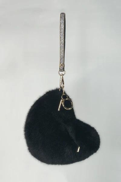 Faux Fur Black Heart Bag