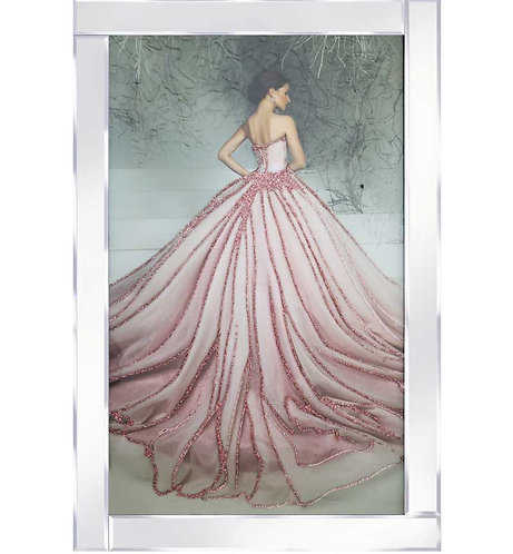 Lady in Pink Dress on Mirrored Frame