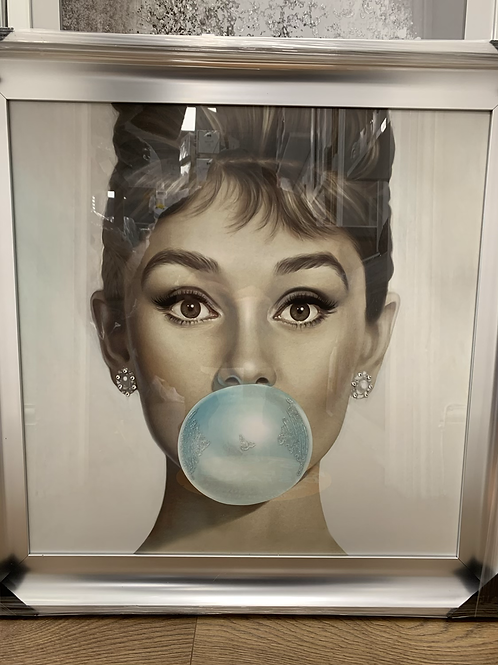 Audrey Bubble Gum Chrome Scoop Frame 75x75cm