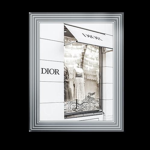 Dior Shop Front on Chrome Stepped Frame 65x55cm