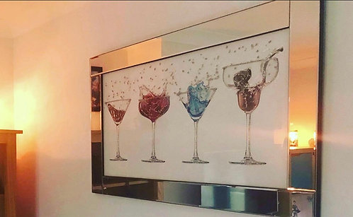 4 Cocktails on Mirrored Frame 100x60cm