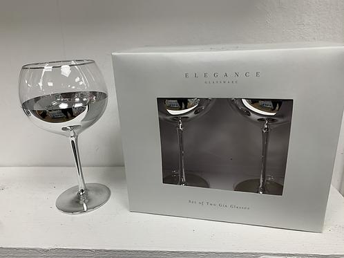 2 Silver Gin Glasses