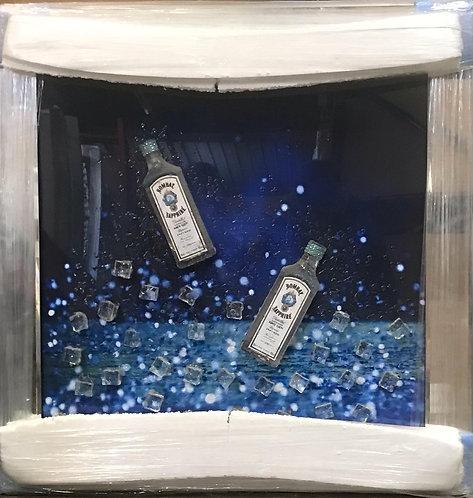 3D Bombay Sapphire on Mirrored Frame 90x90cm