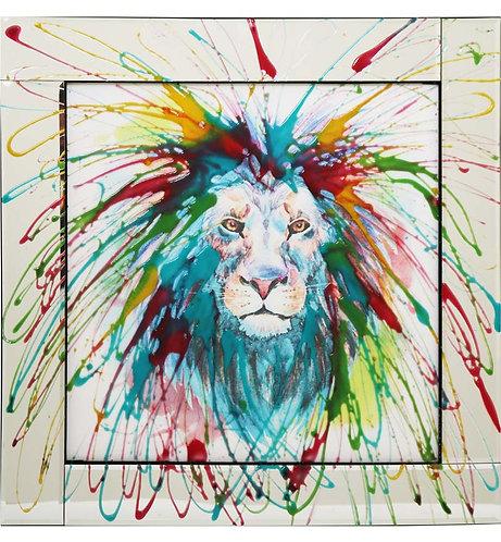 Lion Splash on Mirrored Frame