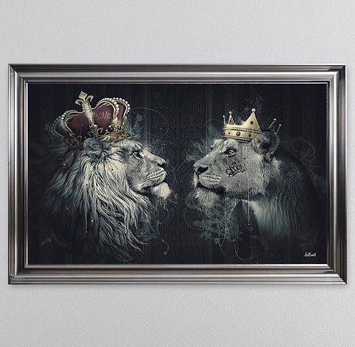 Lion Mafia King & Queen on Metallic Scoop Frame 115x75cm