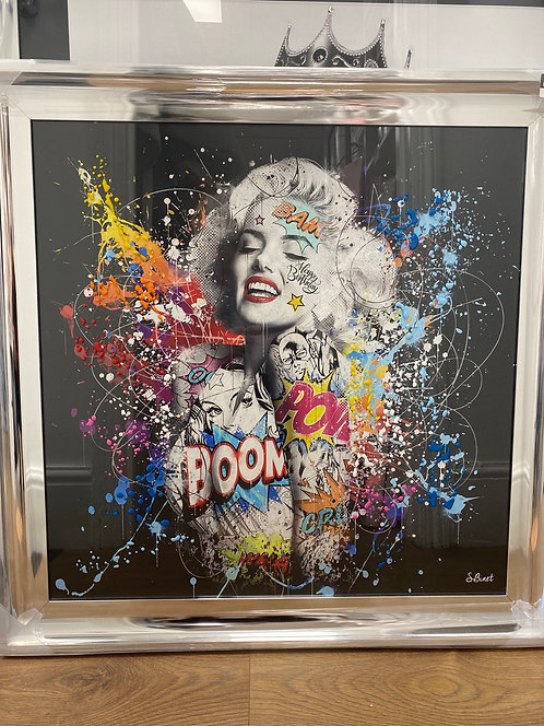 Colour Marilyn Monroe on Chrome Scoop Frame 90x90cm