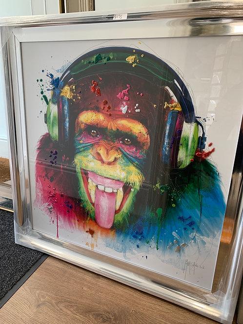DJ Monkey on Chrome Scoop Frame 85x85cm