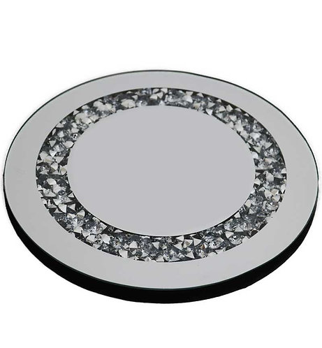 Crushed Diamond Round Candle Plate