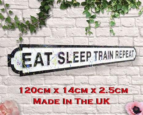 Eat Sleep Train Repeat Paint Splatter Road Sign