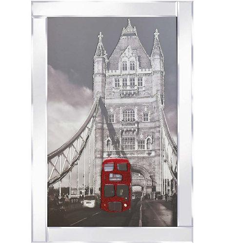 London Bridge & Bus in Mirrored Frame