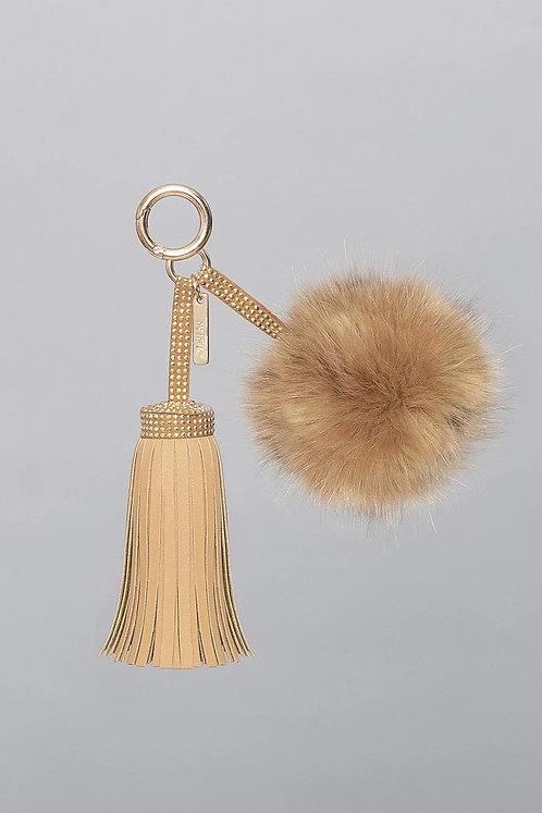 Light Tan Faux Suede & Fur PomPom Charm