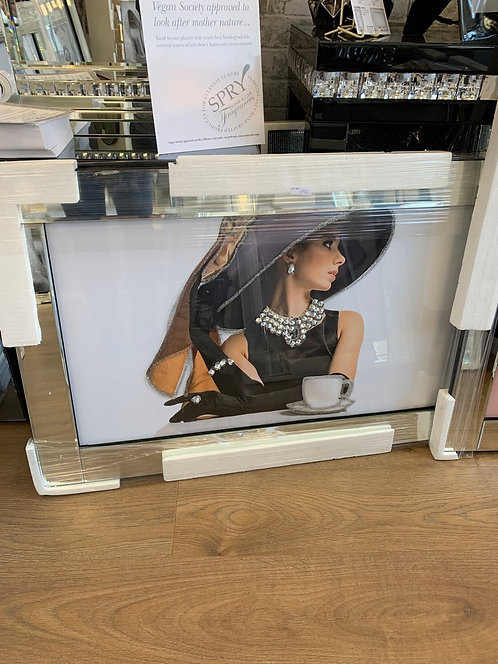 Lady in Hat with Bow on Mirrored Frame