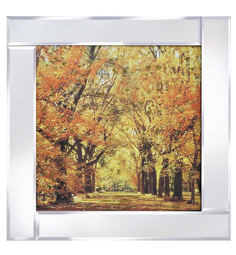 Autumn in Central Park on Mirrored Frame
