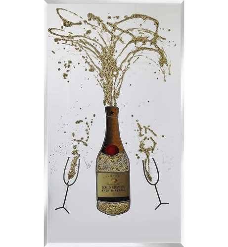 Gold Champagne on Silver Mirror 100x60cm