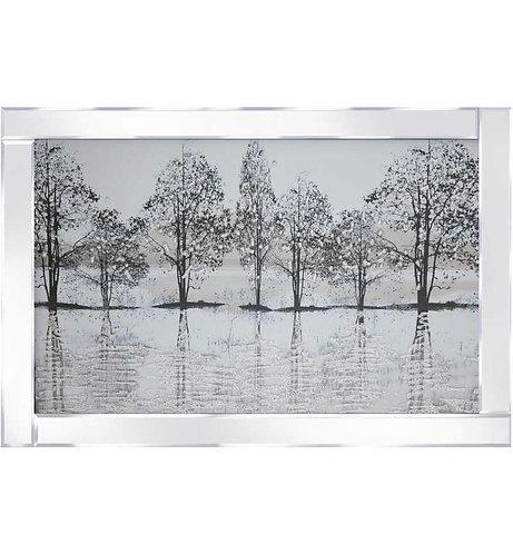 Glitter Trees on Mirrored Frame