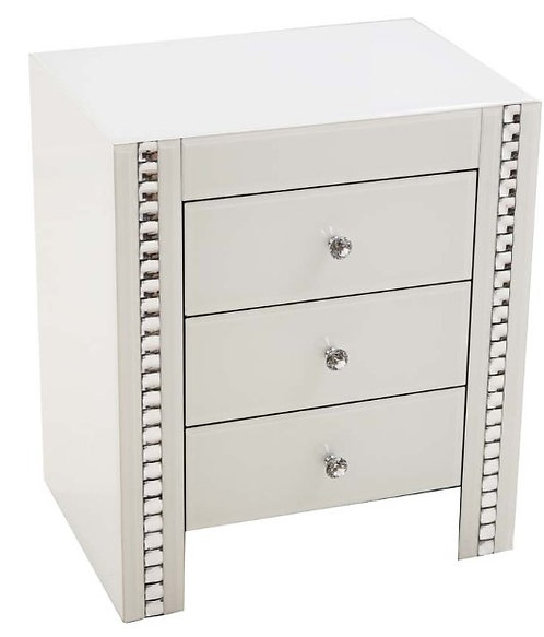 White Crystal 3 Drawer Bed Side Table