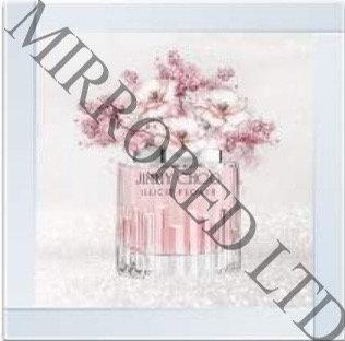Jimmy Choo Flower Bottle on Mirrored Frame 55x55cm