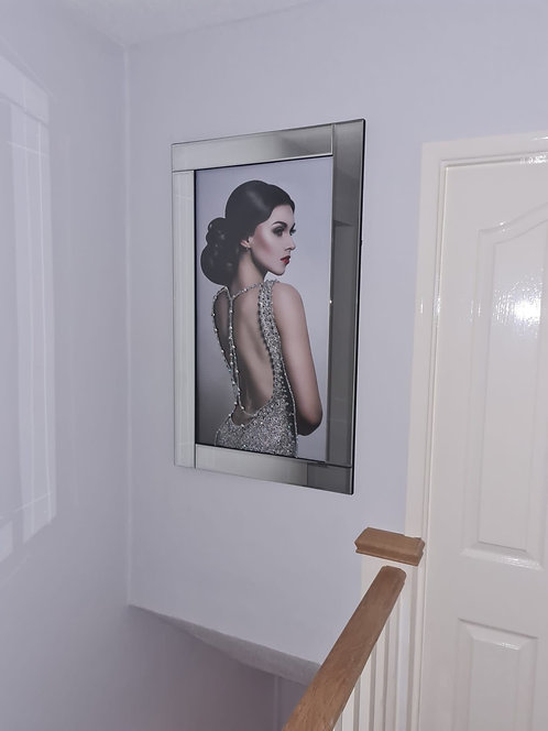 Lady in Backless Sparkle Dress on Mirrored Frame 100x60cm