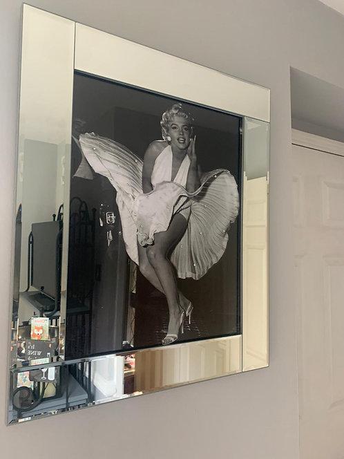 Marilyn Iconic Scene on Mirrored Frame 75x55cm