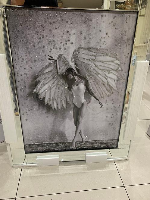 Dancing Angel on Mirrored Frame 95x75cm