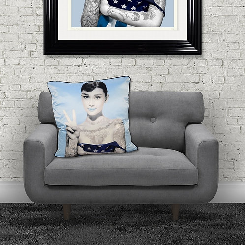 Audrey Tattoos Blue Feather Filled Cushion 55x55cm